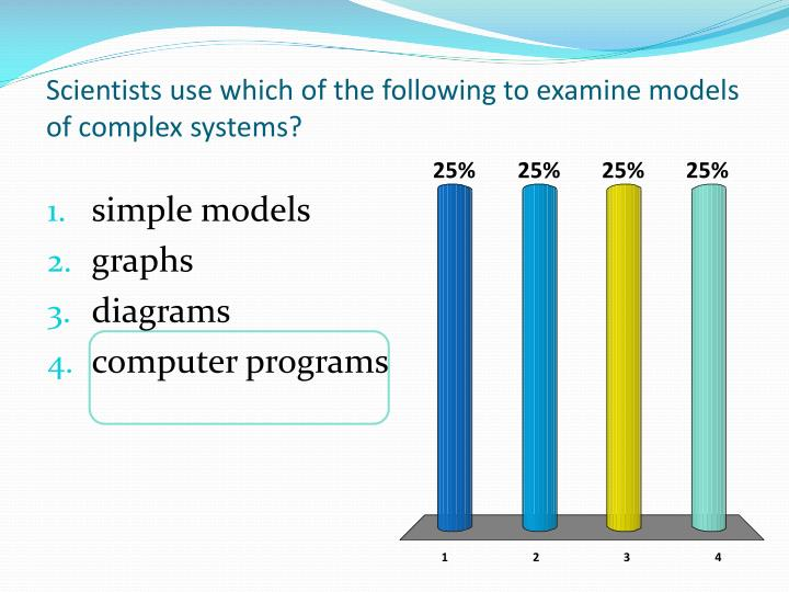 Scientists use which of the following to examine models of complex systems?