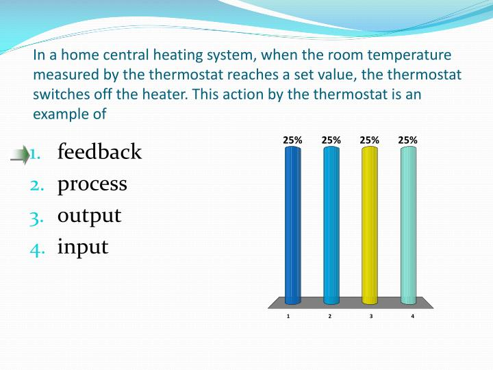In a home central heating system, when the room temperature measured by the thermostat reaches a set value, the thermostat switches off the heater. This action by the thermostat is an example of