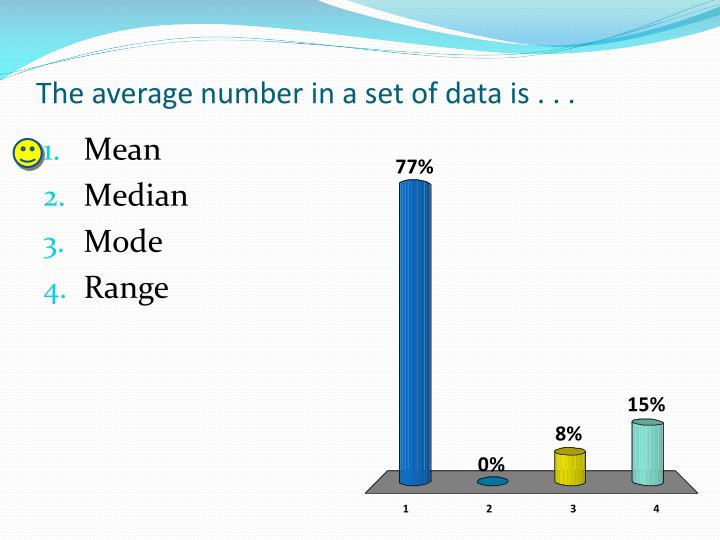The average number in a set of data is . . .