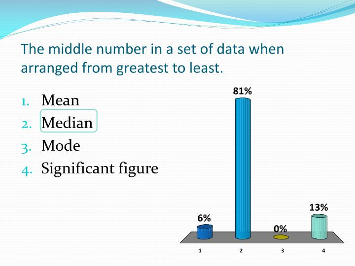 The middle number in a set of data when arranged from greatest to least.