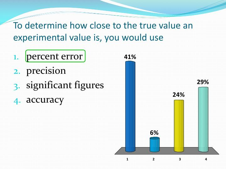 To determine how close to the true value an experimental value is, you would use