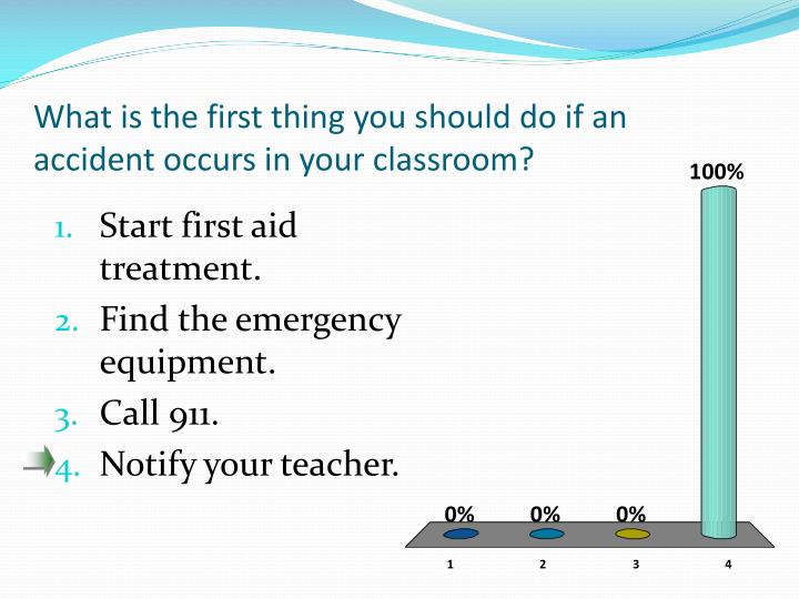 What is the first thing you should do if an accident occurs in your classroom?