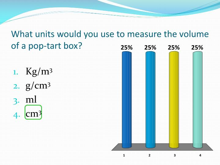 What units would you use to measure the volume of a pop-tart box?