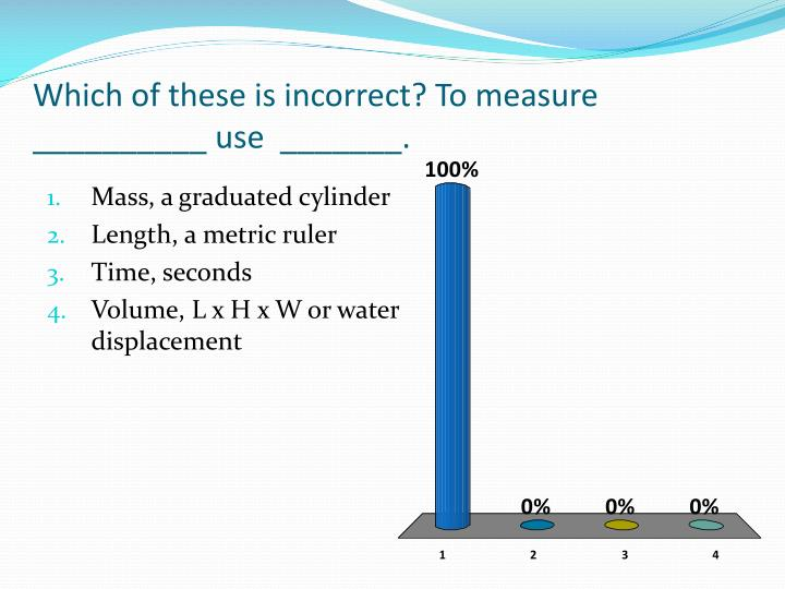 Which of these is incorrect? To measure __________ use  _______.