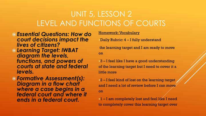 Unit 5 lesson 2 level and functions of courts