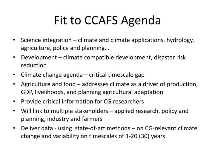 Fit to CCAFS Agenda