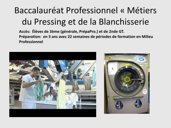 Baccalauréat Professionnel «Métiers du Pressing et de la Blanchisserie