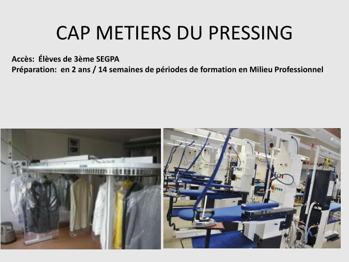 CAP METIERS DU PRESSING