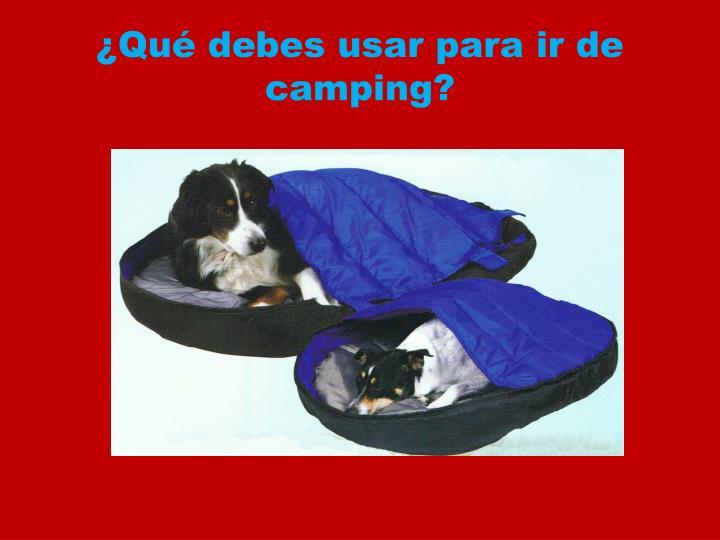 ¿Qué debes usar para ir de camping?