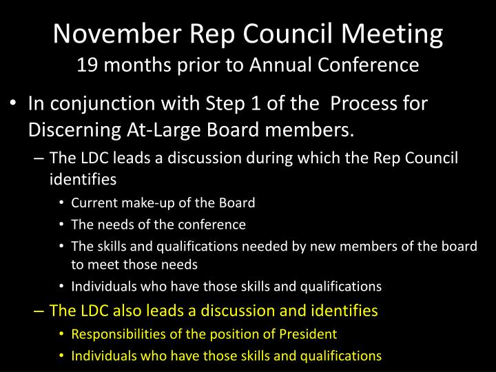 November rep council meeting 19 months prior to annual conference