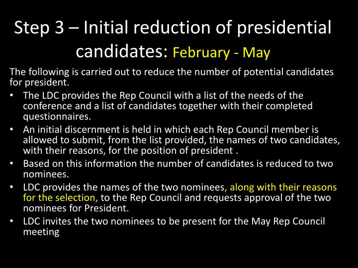 Step 3 – Initial reduction of presidential candidates: