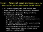 step 4 r aising of needs and names after the selection of at large board members at the may meeting