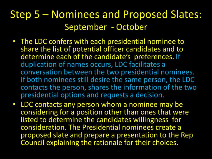 Step 5 – Nominees and Proposed Slates:
