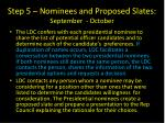 step 5 nominees and proposed slates september october