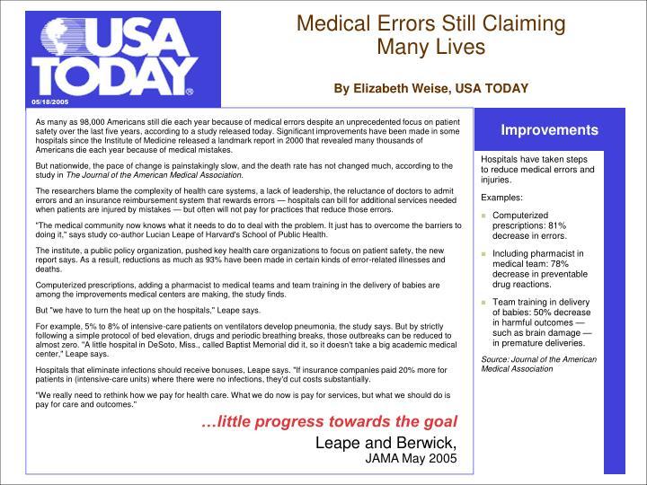 Medical Errors Still Claiming