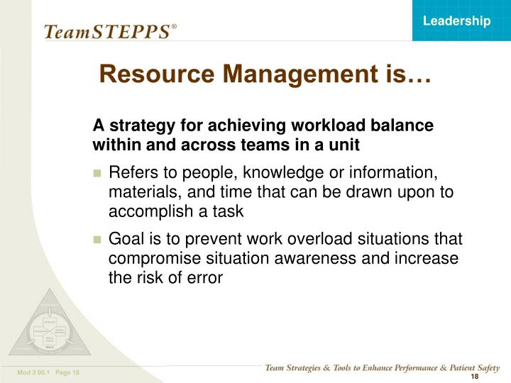 Resource Management is…