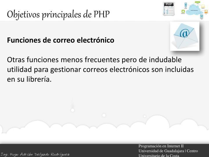 Objetivos principales de PHP