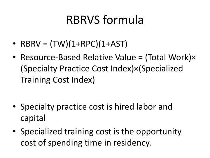 RBRVS formula
