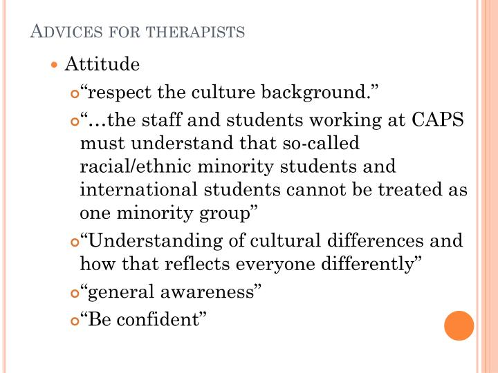 Advices for therapists