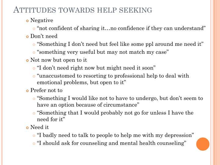 Attitudes towards help seeking