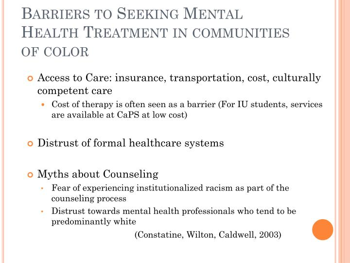 Barriers to Seeking Mental Health Treatment in communities of color