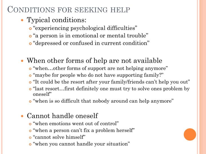 Conditions for seeking help