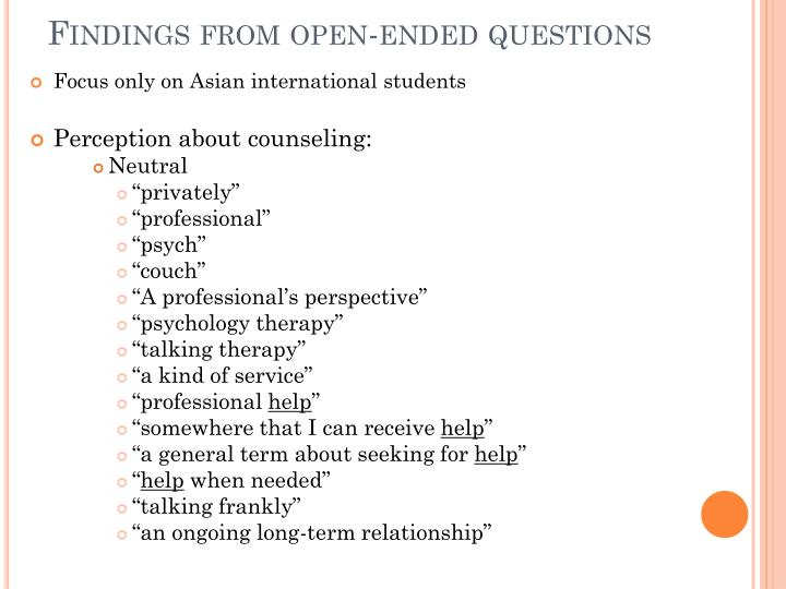 Findings from open-ended questions