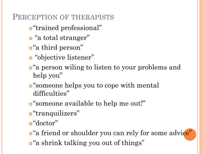 Perception of therapists