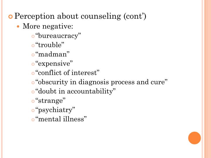 Perception about counseling (cont')