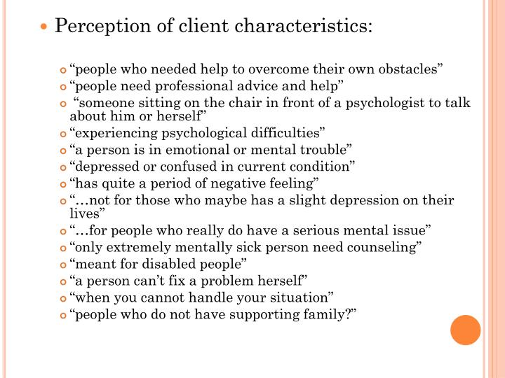 Perception of client characteristics: