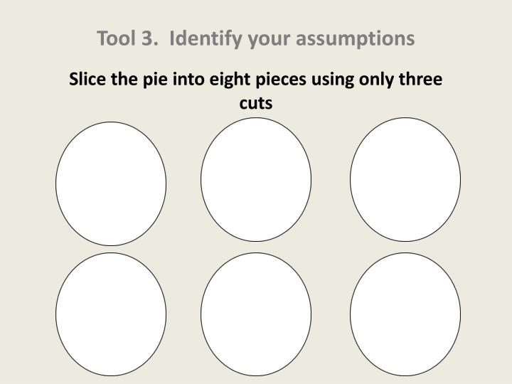 Tool 3.  Identify your assumptions