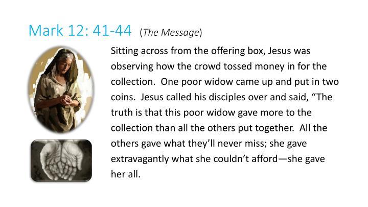 Mark 12: 41-44