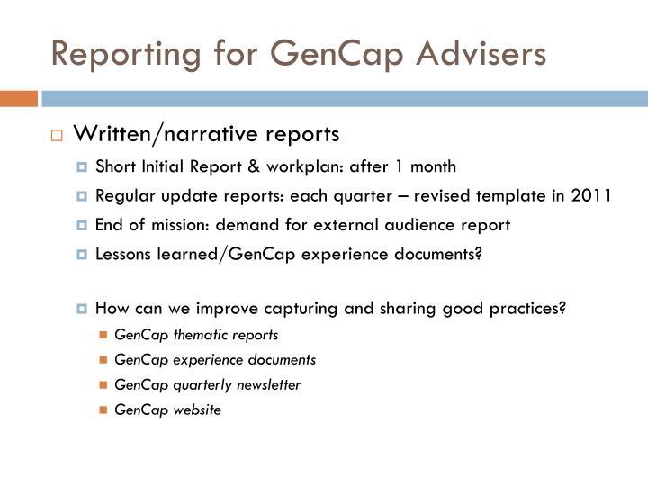 Reporting for GenCap Advisers