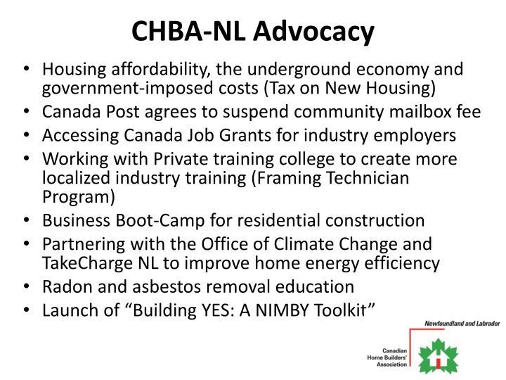 CHBA-NL Advocacy