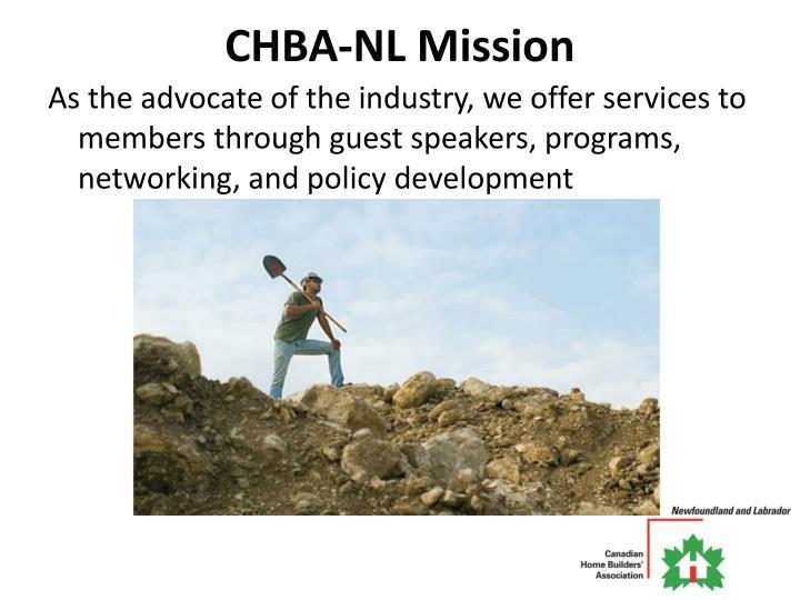 CHBA-NL Mission