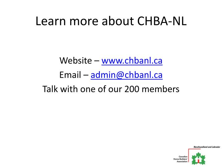 Learn more about CHBA-NL