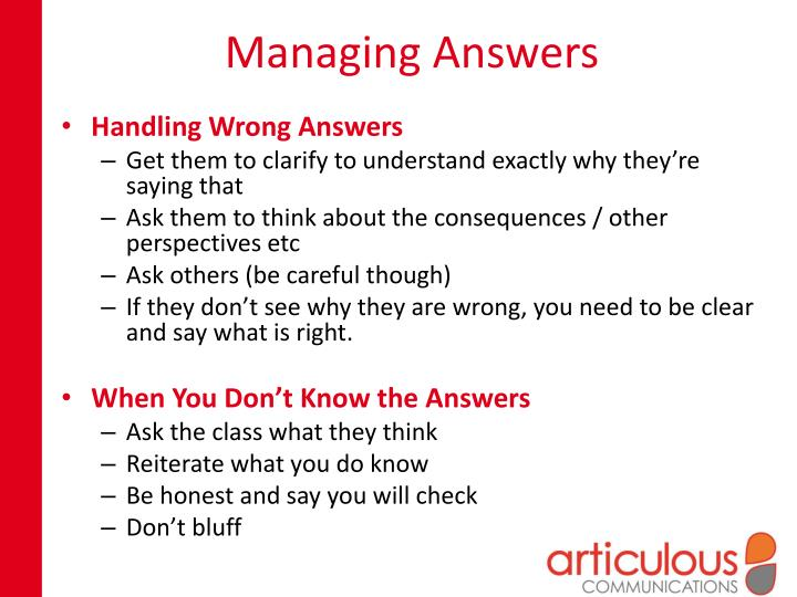 Managing Answers