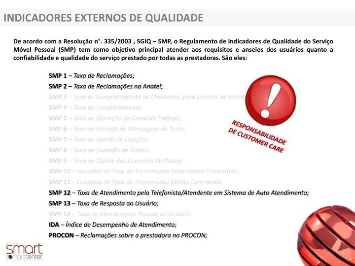 INDICADORES EXTERNOS DE QUALIDADE