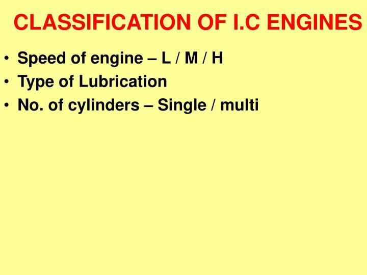 CLASSIFICATION OF I.C ENGINES