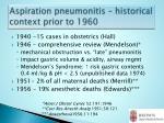 aspiration pneumonitis historical context prior to 1960