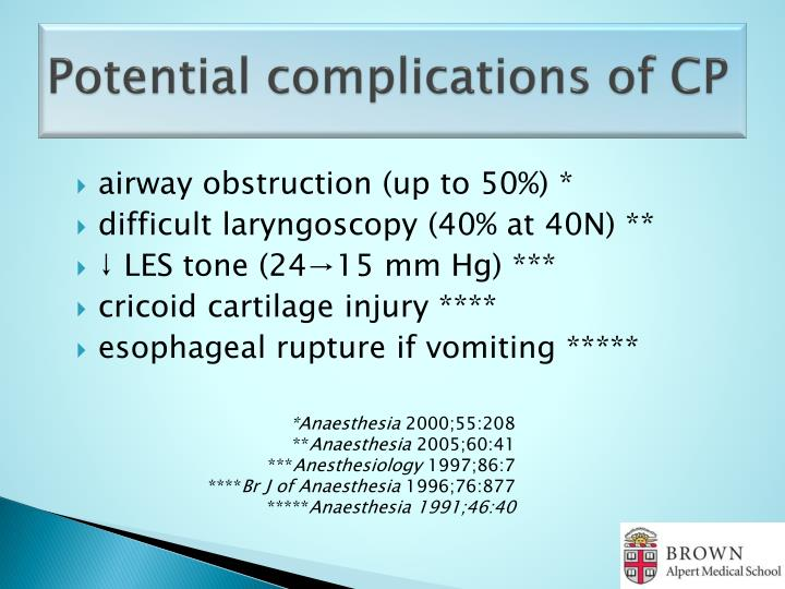 Potential complications of CP
