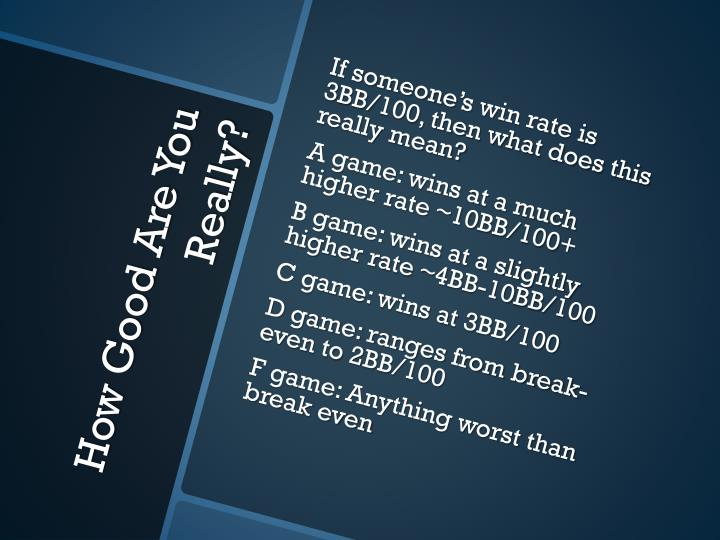 If someone's win rate is 3BB/100, then what does this really mean?