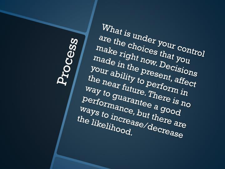 What is under your control are the choices that you make right now. Decisions made in the present, affect your ability to perform in the near future. There is no way to guarantee a good performance, but there are ways to increase/decrease the likelihood.