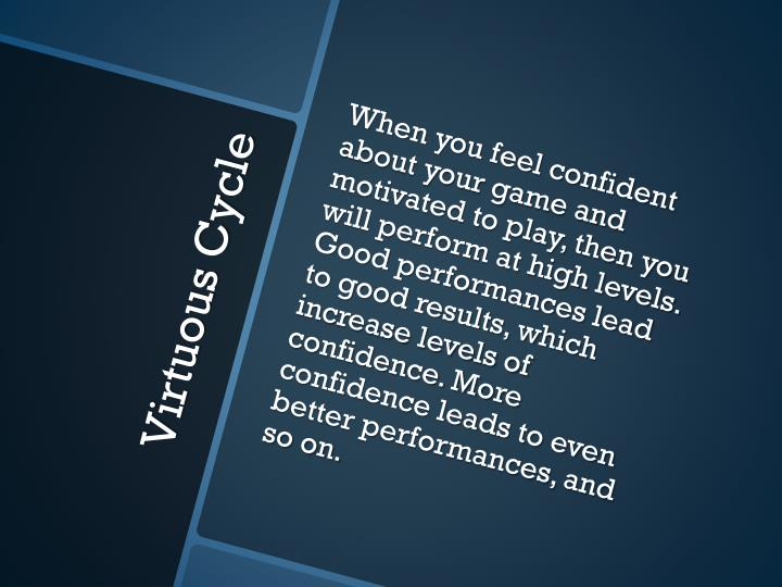 When you feel confident about your game and motivated to play, then you will perform at high levels. Good performances lead to good results, which increase levels of confidence. More confidence leads to even better performances, and so on.