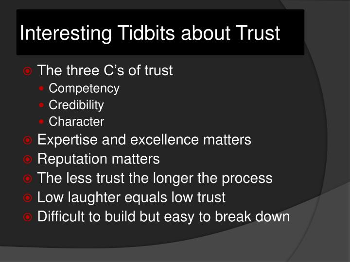 Interesting Tidbits about Trust