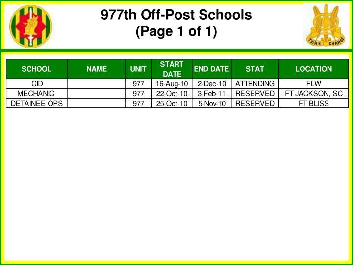977th Off-Post Schools