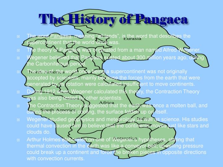 The history of pangaea