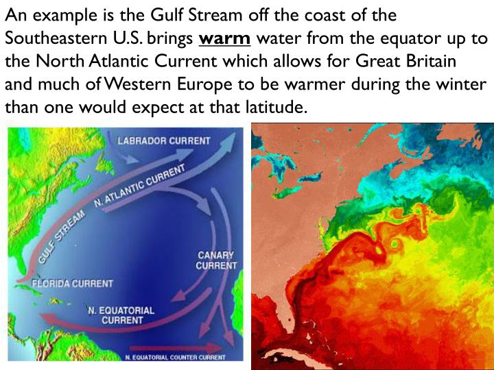 An example is the Gulf Stream off the coast of the Southeastern U.S. brings