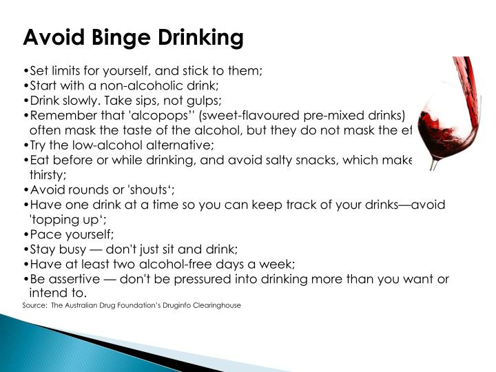 Avoid Binge Drinking