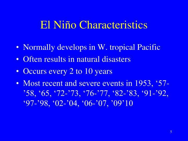 El Niño Characteristics